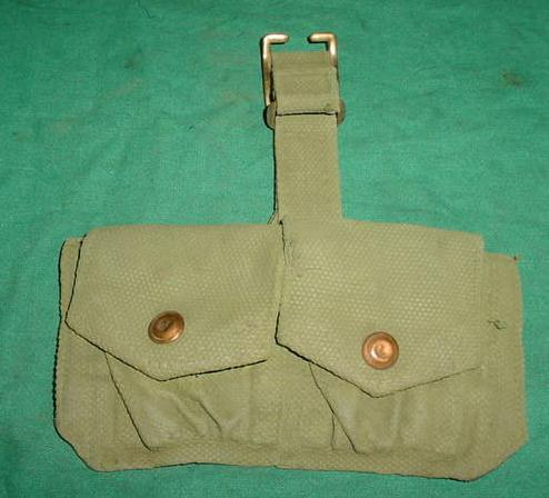 Ammo Pouch British 2 Pocket OD WWII Dated Used