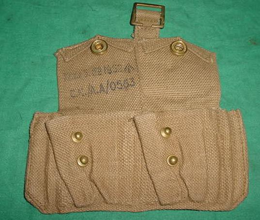 Ammo Pouch British 2 Pocket TAN Early 1950's Dated EXC