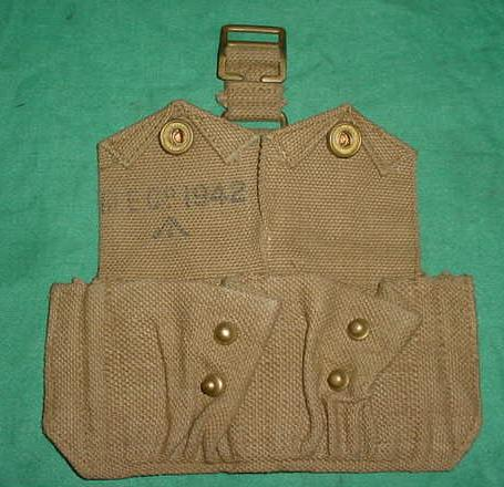 Ammo Pouch British 2 Pocket TAN WWII Dated EXC