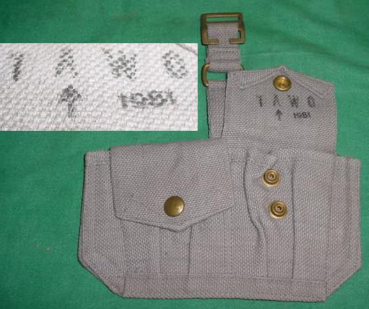 Ammo Pouch British 2 Pocket Gray USED 1951 Broad Arrow Marked
