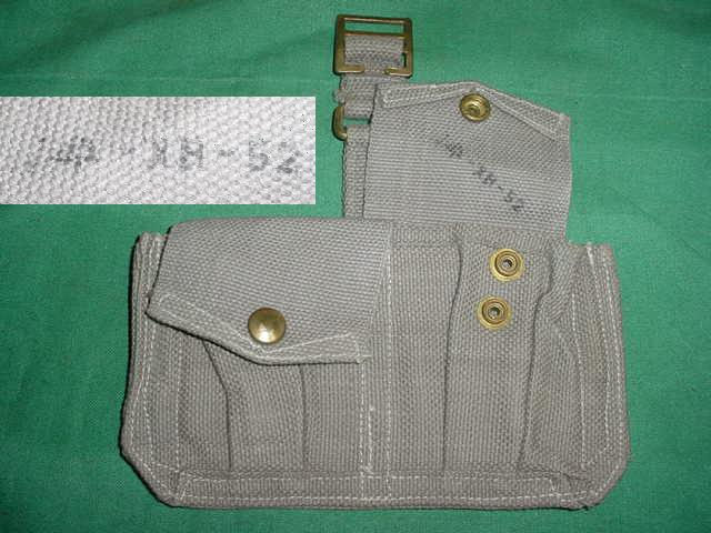 Ammo Pouch British 2 Pocket Gray USED 1952 Broad Arrow Marked