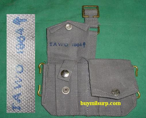 Ammo Pouch British 2 Pocket Gray USED 1964 Broad Arrow Marked