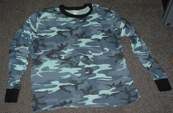 Shirt Blue Camo LARGE 50% Cotton Made in USA, NEW