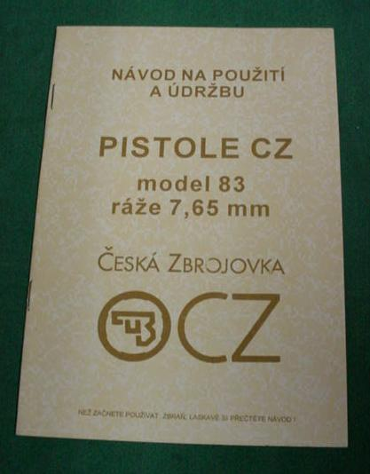 CZ Czech Model 83 Pistol 7.65 32 ACP Manual IN CZECH LANGUAGE