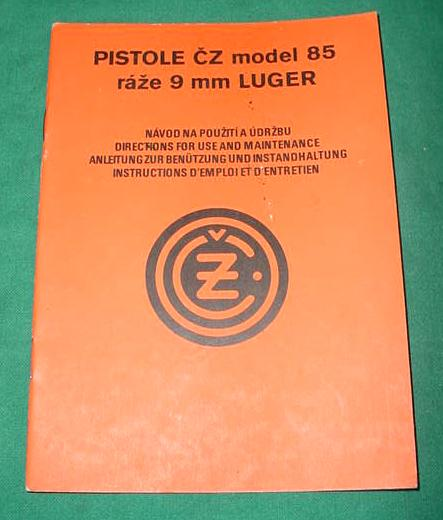 CZ 85 CZECH 9mm Pistol Manual, MULTI LANGUAGE