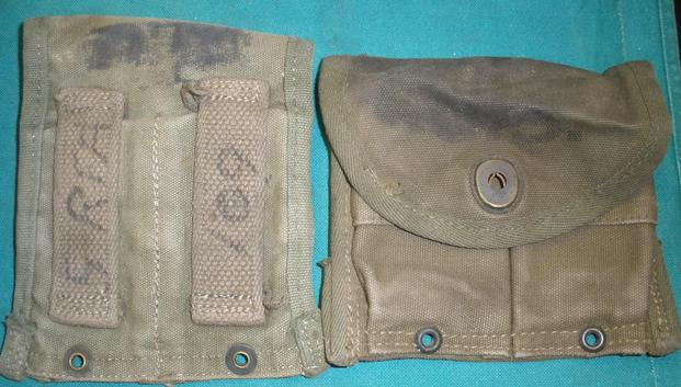 Pouch M1 Carbine USED QTY 1, Stained, Holds 2 15rd Magazines