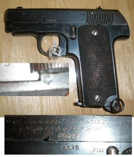 "Spanish ""Ruby"" 7.65 Pistol with French Acceptance Stamp"