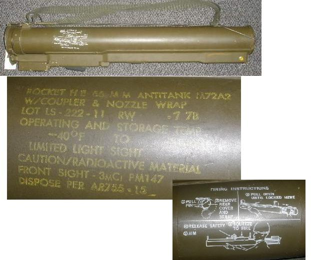 US M72A2 LAW Tube with HEAT Rocket 7-78