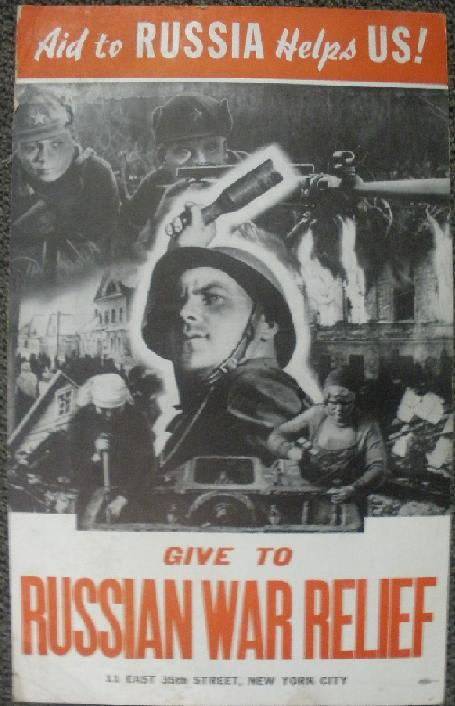 "WWII Aid to Russia Poster, ""Aid to RUSSIA helps US"""