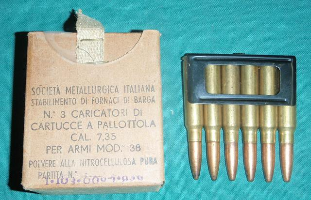 7.35 Italian Carcano Ammo 18 Rd Box on Loading Clips