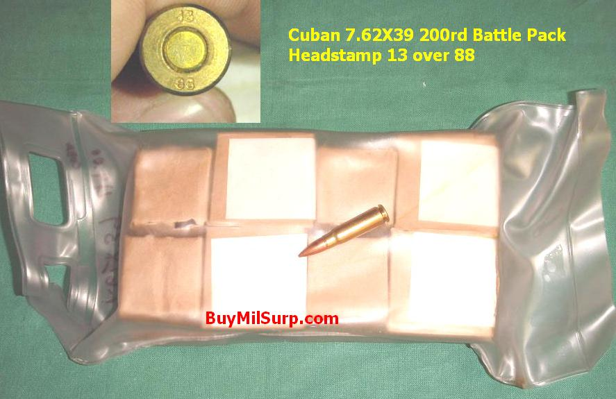 7.62X39 200 Rounds Cuban Battle Pack Headstamp 13 , 1988 - Click Image to Close