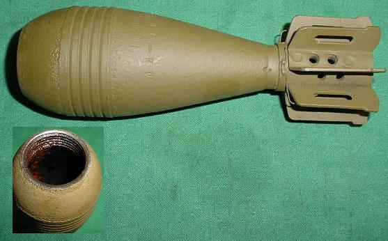 60mm Mortar Round, Fin Stabilized