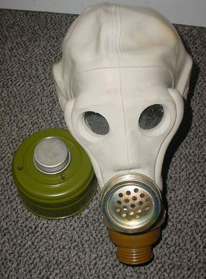 "Gas Mask, Russian ""Death Head"" with Filter"