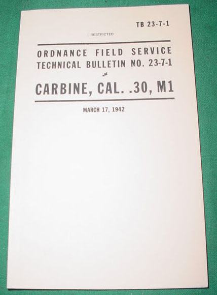 Booklet M1 Carbine, US Military TB 23-7-1