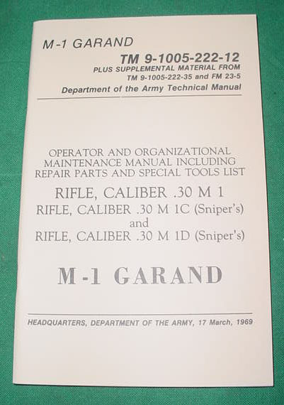 Booklet US M1 Garand TM 9-1005-222-12