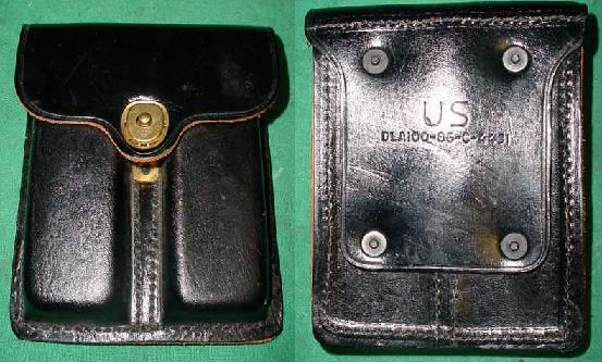 US GI 45 Black Leather Dual Magazine Pouch